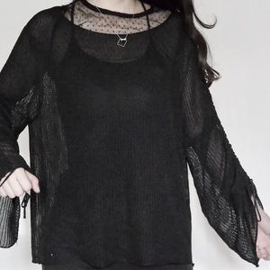 Zara see through top with oversized sleeves