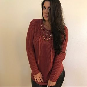 Sweaters - Dark Mauve Lace Up Sweater