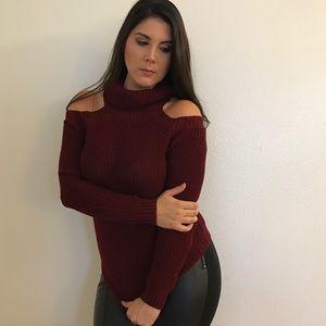 Sweaters - Burgundy Cold Shoulder Turtleneck Sweater