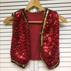 Other - Red & Gold & Sequin Vest
