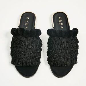 Zara black slides with tassels