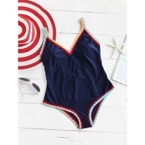 Other - Crochet Navy One Piece Swimsuit