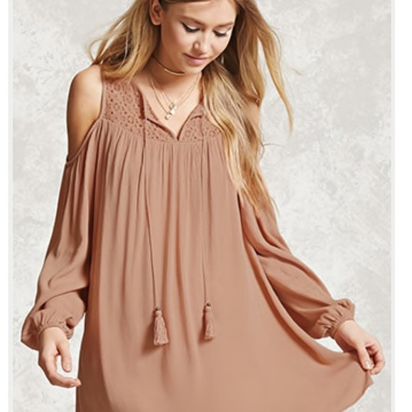 8aa982c9daa60 Forever 21 Dresses | Open Shoulder Medallion Crochet Swing Dress ...