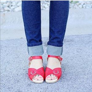 df9957bb7b6f Worishofer Shoes - Worishofer 711 red leather cork wedge sandals 8