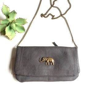 Francesca's Collections Bags - Francesca's Dark Grey Elephant Clutch Shoulder Bag