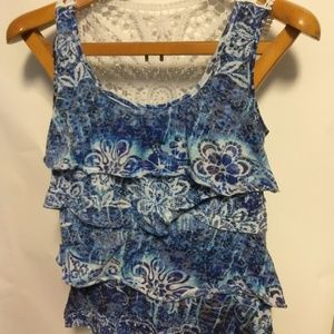 AGB Small Blue Ruffle Tank Top With White Lace