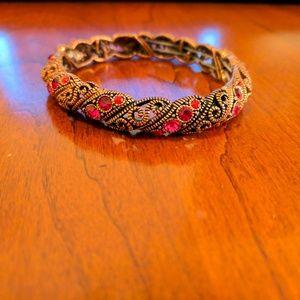 NWOT Bronze-Colored/Pink Jeweled Costume Bracelet