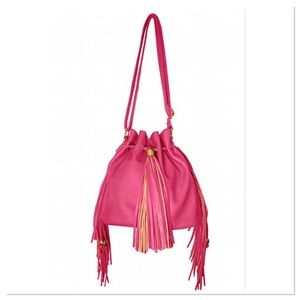 Magenta Fringe Drawstring Bucket Bag