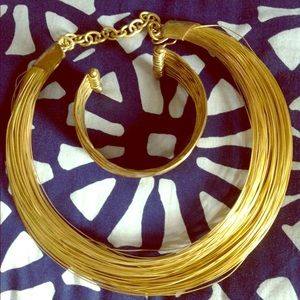 Jewelry - Gold Wire Necklace and Bracelet Set