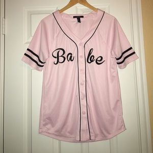 Forever 21 Babe Embroidered Baseball Top
