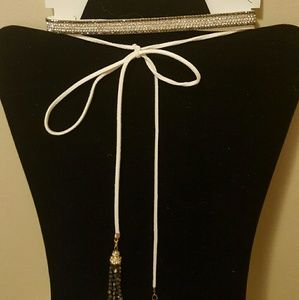 Jewelry - Gorgeous 5 row choker with crystals & suede cord