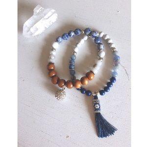 Blue and Wooden Tassel Stretch Bracelet Set