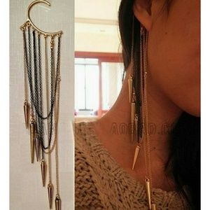 Jewelry - Multistrand earcuff with multicolor chains/spikes