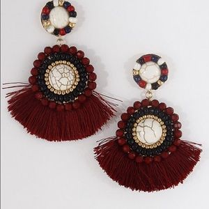 Beaded tassel statement earrings