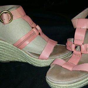 Fossil Leather Wedge Sandals