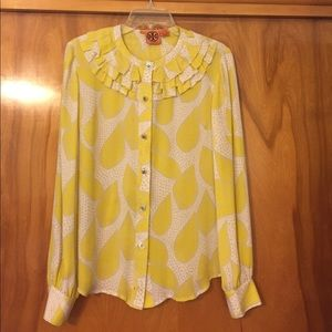 Tory Burch Leaf Print Silk Ruffle Blouse