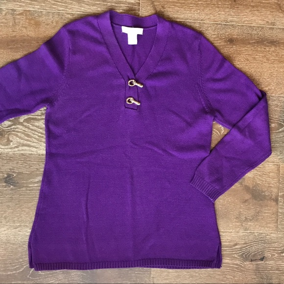 Palette Sweaters - Palette purple sweater with gold clasps