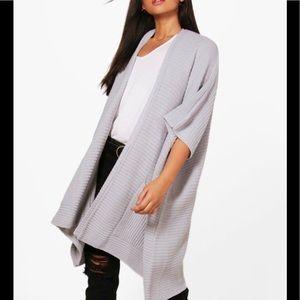 Jackets & Blazers - Grey Gray Cape Pocket Knit Cardigan