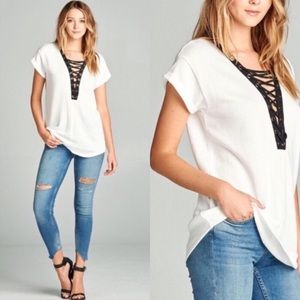 Tops - Ivory Lace Up Top