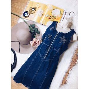 Vintage 90s Glam Star Stud Denim Corset Dress S