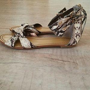 Cynthia Vincent gladiator snakeskin sandals