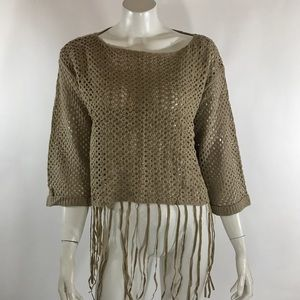 Umgee Womens Sweater Taupe Tan Fringe Bell Sleeve