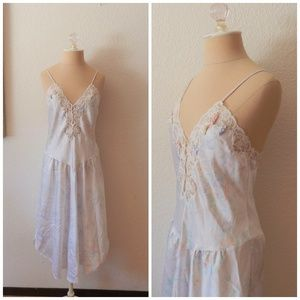 Vintage 80s Sexy Pastel Flower Nightgown Lingerie
