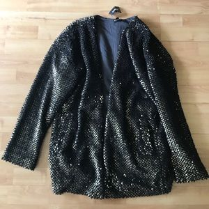 Women's Express Gold Sequin Cardigan Sweater on Poshmark