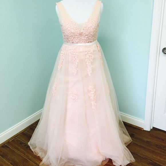 Blush Pink Wedding Dress Lace Tulle Fairy Bohemian   Poshmark