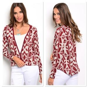 Burgundy and Cream Cardigan