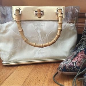 😻Vintage bamboo handle satchel