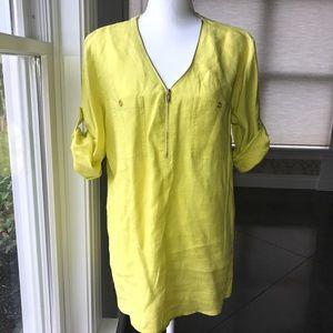 Yellow Zipper Neck Tunic