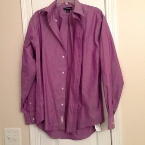 Mens Lands End Purple Button-Up Dress Shirt