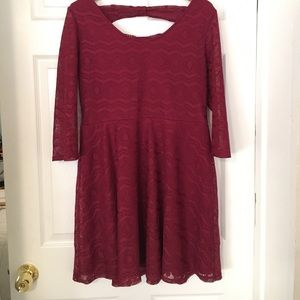 Burgundy Party/Holiday Dress with Bow Back
