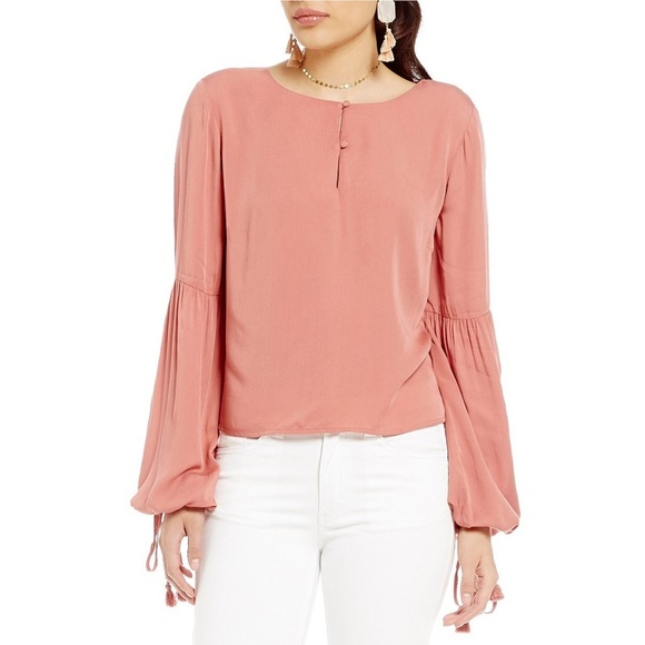 658d27df66b759 Gianni Bini Tops | Stacy Mauve Pink Bell Sleeve Blouse | Poshmark