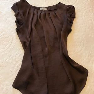 "Brown ""silky"" top"