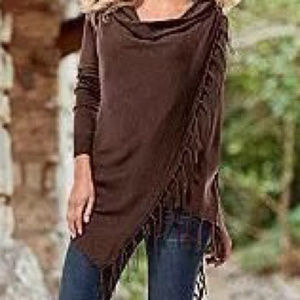 Sweaters - Brown asymmetrical cape jacket coat with fringe