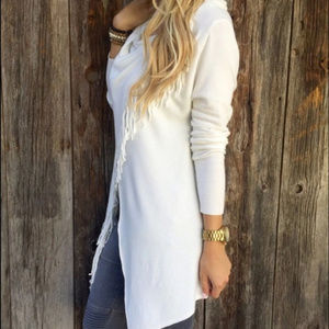 Sweaters - White asymmetrical cape jacket coat with fringe