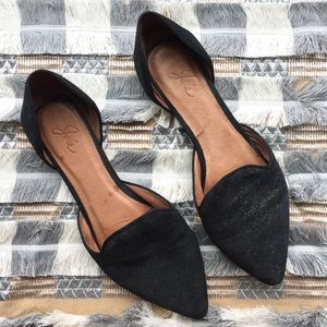Joie black with gold sparkles pointed toe flats