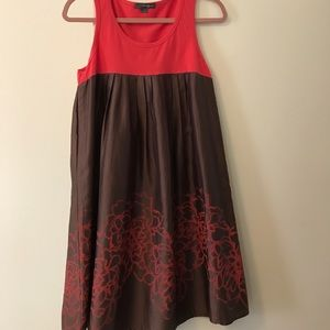 Red & brown sleeveless dress