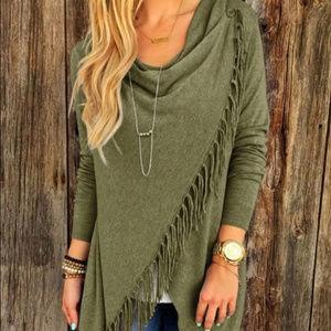 Sweaters - Green  asymmetrical cape jacket coat with fringe