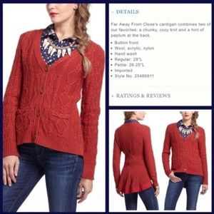 Anthropologie peplum skirted fisherman cardigan