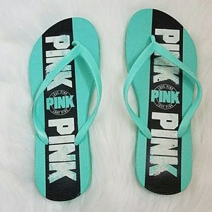 VS PINK TEAL FLIP FLOPS,  NEW WITH DEFECTS