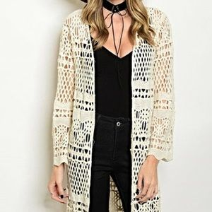Breeze Ever Sweaters - Boho Chic Long Black Crochet Duster Cardigan