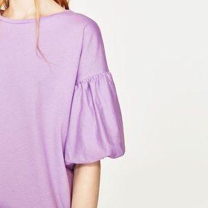 Zara mauve colored puff sleeves dress