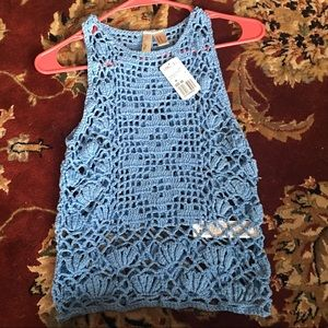 Forever 21 Light Blue Sleeveless Sweater Knit Top