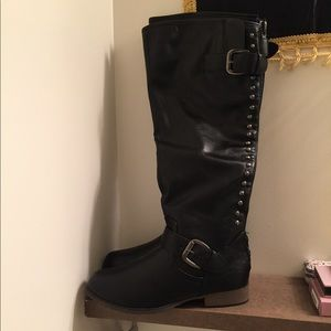 Shoes - Black Studded Riding Boots.
