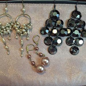 Earrings bundle gold black