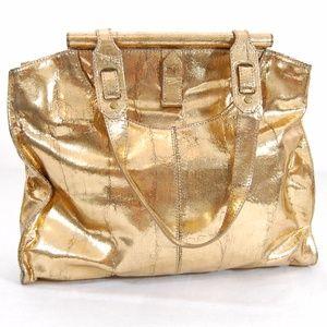 DVF Gold Leather Shoulder Bag