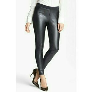 Trouve Black Faux Leather Front Leggings XS